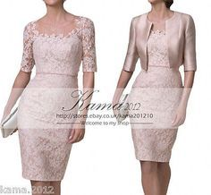 Pink Mother Of the Bride Dress Knee Length Lace Wedding Guest Party Gown +Jacket in Clothes, Shoes & Accessories, Wedding & Formal Occasion, Mother of the Bride | eBay