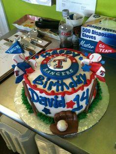 Texas Rangers baseball cake