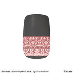 "CLICK ""MINX"" TO PURCHASE Ukrainian Embroidery Nail Art Red Birds & Hearts Minx® Nail Wraps"