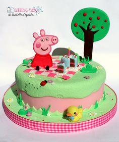 Peppa pig cake topper, peppa pig cake, pasta di zucchero, torta, peppa pig