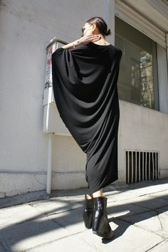 Black Asymmetrical Tunic Dress / Kaftan / Off Shoulder by Aakasha