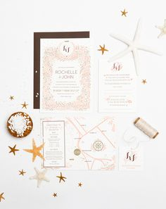 Beachy Letterpress Wedding Invitation Suite | Ashley Nicole Design