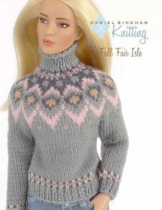 "Norvég mintás kötött pulcsi Barbie babáknak / Knitting pattern for 16"" doll (Tyler Wentworth): Fall Fair Isle Pullover"