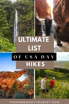 Best day hikes to add to your USA bucket list. EPIC hikes in the United States with the best views. Perfect list for beginner hikers. All under 10 miles! Day Hike, Weekend Getaways, Nice View, Time Travel, North America, Things To Do, Waterfall, Road Trip, Bucket