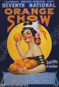 1917 Orange Show Poster, San Bernardino, County of San Bernardino, California San Bernardino California, San Bernardino County, Vintage California, California Love, California Travel, Southern California, Custom Posters, Vintage Travel Posters, Vintage Advertisements