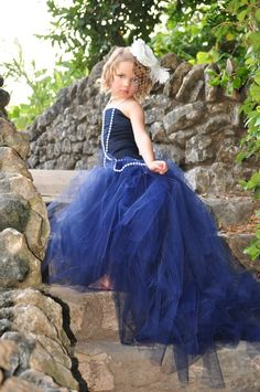 Girls Dress-Flower Girl Tutu with Detachable Train and Corset Top--Weddings, Pageants and Portraits-----Vogue. $160.00, via Etsy.