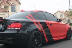 2008 BMW 135i with 3M 1080 M13 Matte Red Vinyl with 3M 1080 G12 Gloss Black Vinyl  #eyecandyvehiclewraps #lasvegas #BMW #BMW135i #3mvinyl
