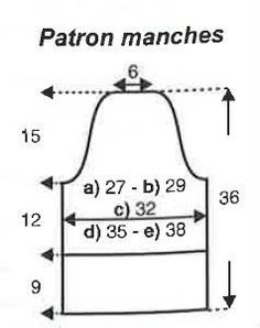 Schéma manches pull ajour 3-4 P