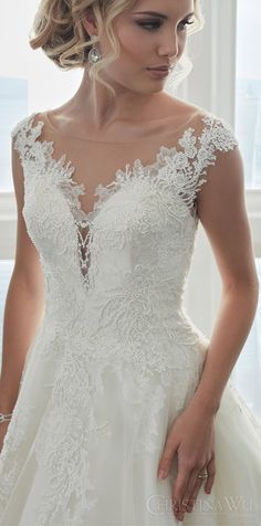 christina wu brides spring 2017 bridal sleeveless illusion cap sleeves deep sweetheart a line beadd lace ball gown wedding dress (15626) mv princess romantic