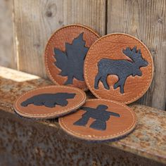 Buffalo coasters! #buffalo #Canada #handmade #rockwood #ontario #coasters #leather #hidesinhand #love Daily Fashion, Buffalo, Coasters, Canada, Leather, Handmade, Accessories, Collection