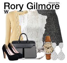 """Gilmore Girls"" by wearwhatyouwatch ❤ liked on Polyvore featuring Ermanno Scervino, Alberta Ferretti, Oscar de la Renta, FOSSIL, Joy Everley, Aznom, Allurez, television and wearwhatyouwatch"