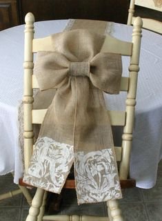 Bride and Groom chair sash TWO burlap pew bow by Bannerbanquet, $25.00