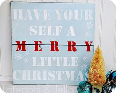 Holiday Stencil Sign from an old shelf