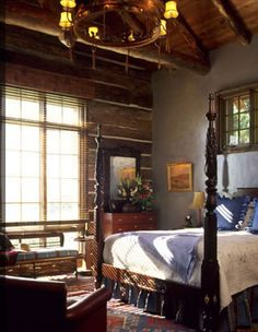 So peaceful....square log, minimal chinking, log home bedroom