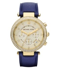 Michael Kors Women's Chronograph Parker Navy Leather Strap Watch 39mm MK2280