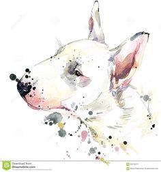 bull terrier watercolor tattoo idea