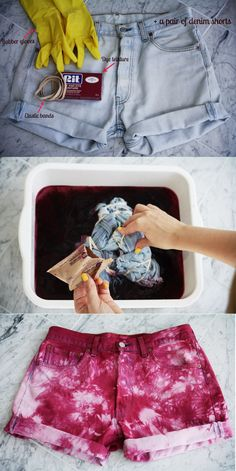 20 DIY summer shorts for Crazy Summer, Trendy Tie N Dye Shorts diy Top 10 DIY Shorts Tutorials - TopInspired Diy Shorts, Cool Diy, Easy Diy, Diy Kleidung, Diy Vetement, Diy Mode, Do It Yourself Fashion, Summer Diy, Diy Clothes For Summer