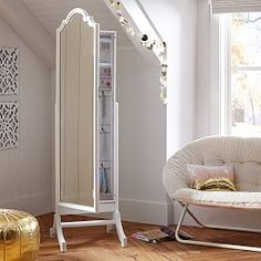 Nice Full Length Mirror Jewelry Armoire For Home Furniture Ideas: White Wooden Full Length Mirror Jewelry Armoire With Cozy Chair And Wooden Floor For Home Decoration Ideas Mirror Jewelry Storage, Jewelry Armoire, Jewellery Storage, Furniture Vanity, Mirrored Furniture, Home Furniture, Office Furniture, Furniture Ideas, Chelsea