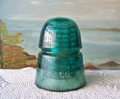 Vintage Glass Insulator Turquoise Green