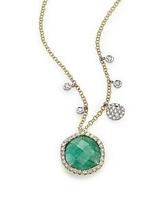 Meira T Emerald, Diamond & 14K Yellow Gold Pendant Necklace - Gold