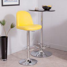 Tabouret de bar hauteur réglable en polyuréthane avec pied chromé jaune CANARI AXE design port offert