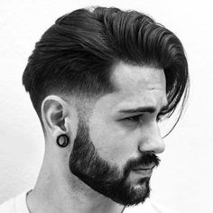 Low Taper Fade with Long Comb Over and Beard