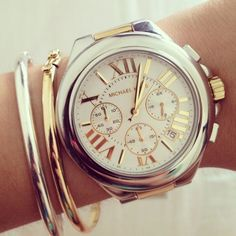 Silver and gold rules! ⌚ Michael Kors watch. http://www.thesterlingsilver.com/product/marc-jacobs-mbm3330-36mm-gold-steel-bracelet-case-mineral-womens-watch/ - watches womens designer, stainless steel watches womens, womens large watches