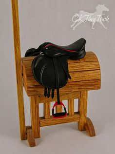 CK Tiny Tack: Black & Red Dressage Saddle