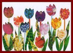 Tulips – collage - Spring Crafts For Kids Spring Crafts For Kids, Spring Projects, Crafts For Boys, Craft Projects For Kids, Art For Kids, Flower Crafts, Flower Art, Easter Art, School Art Projects
