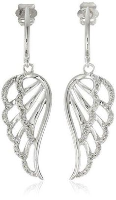 10K White Gold Diamond Angel Wing Earrings #earrings #grey #fashion