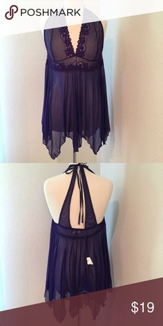 NWOT Escalante Lace and Sheer Nightie and Panties Gorgeous bluish purple color with ties at neckline. New without tags with attached g-string panty. Escalante Intimates & Sleepwear