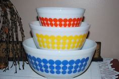 Vintage Pyrex Polka Dot Bowls Set of Three by AGlimpseFromthePast, $98.99