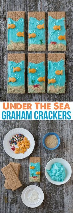 Under the Sea Graham Crackers - easy to make edible kid craft! Perfect for an under the sea birthday party food! Under the Sea Graham Crackers - easy to make edible kid craft! Perfect for an under the sea birthday party food! Graham Crackers, Beach Crafts For Kids, Preschool Beach Crafts, Kids Food Crafts, Children Crafts, Beach Kids, Beach Fun, Hawaiian Kids Crafts, Beach Party Ideas For Kids