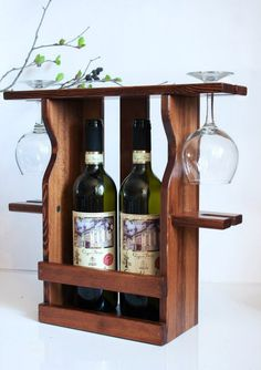 Держатель для вина и бокалов из натурального дерева