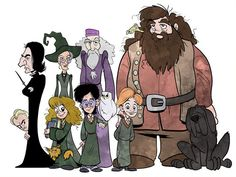 Harry Potter, Hermione, Ron Weasley, Hagrid, Dumbledore Snape and more Cartoon Digital Painting Unframed 11 by 17 inch Print  from Richtoon on Etsy