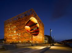 Orange Cube, Lyon, by Jakob + MacFarlane