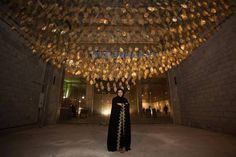 by Manal AlDowayan, a cascade of paper-thin golden leaves that praise the ancestors of hundreds of Saudi Arabian women who engaged in her project.  'Genera#ion: Contemporary Art from Saudi Arabia in San Francisco' - Middle East Reaches West