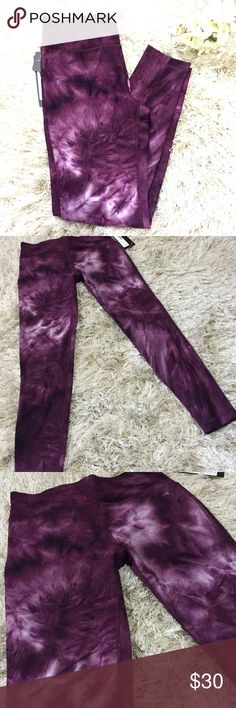 Tie-dye Printed Leggings Plum colored tie-dye printed leggings. Size medium. Moisture wicking fabric with wide waistband. 88% polyester. 12% spandex. Super fun print! Feel free to ask questions!  Pants Leggings