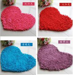 Produtos de decoração para casa coração vermelho fofo quarto tapete tapete de banho Chenille tapete capacho 11 018(China (Mainland))