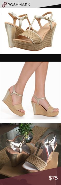 NEW UGG FITCHIE METALLIC Soft gold Englin's Fine Footwear presents the women's 'Fitchie' Metallic' from UGG. Textured jute gives this classic T-strap sandal stylish dimension. The smooth metallic leather, sculpted wedge, and cushioning insole infuse this head-turning style with all-day comfort. UGG Shoes Wedges