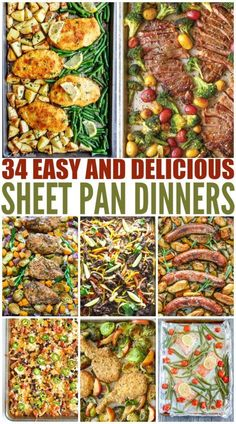 one pan dinners chicken Sheet pan dinners are super hot right now (pun intended!) for several reasons they are easy, simple to make, healthy, and delicious! Ive rounded up 34 sh Healthy Cooking, Cooking Recipes, Healthy Recipes, Damn Delicious Recipes, Salad Recipes, Recipe Sheets, Sheet Pan Suppers, One Pot Meals, One Pan Meals Oven