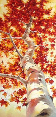 Ivan Alifan Jdanov - Arte y Pinturas Fall Tree Painting, Acrylic Painting Trees, Shadow Painting, Knife Painting, Acrylic Art, Watercolor Trees, Autumn Trees, Autumn Leaves, Tree Art