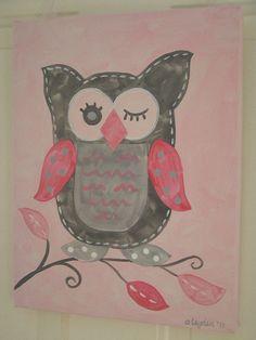 Custom Owl Painting 11 x 14 Kids girl kid room by theivylane, $43.00