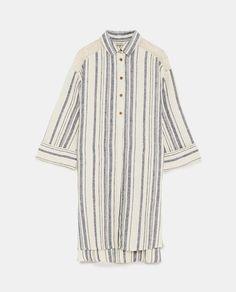 Image 8 of STRIPED LINEN DRESS from Zara My Shopping List, Striped Linen, Zara, Embroidery, Inspiration, Image, Tops, Dresses, Women