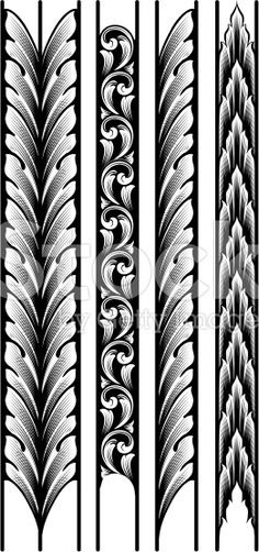 Engraved Leaf Borders royalty-free stock vector art