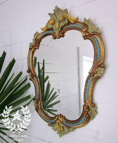 vintage mirrors  | Vintage Mirrors equals Love! I love the different colors on this mirror. It could go in any different room of your house and lok great.