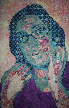 art quilt portrait, textile artist Maggie Dillon    Interesting use of non-traditional colors for a portrait.