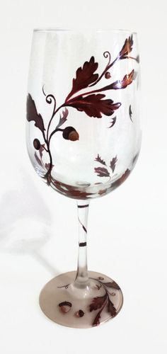 Autumn Wine Glass Hand Painted Acorn Leaves by LKCustomCreations