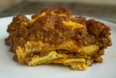 Kosher Meat Lasagna | The secret to making this taste like the real deal, in addition to the mock cheese layers, is in the fennel seed and red pepper flakes, which make the meat sauce taste as though it contains sausage.