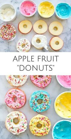 Yummy healthy kid snack or treat with less sugar than r… Easy Apple Fruit Donuts. Yummy healthy kid snack or treat with less sugar than regular donuts! These would make fun treats for kids parties too. Healthy Donuts, Healthy Snacks For Kids, Easy Recipes For Kids, Snack Ideas For Kids, Fun Meals For Kids, Breakfast Ideas For Kids, Fun Snacks For Kids, Healthy Kid Recipes, Healthy Birthday Snacks
